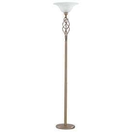 Uplighter A/brass Floor Lamp Cw Marble Gls