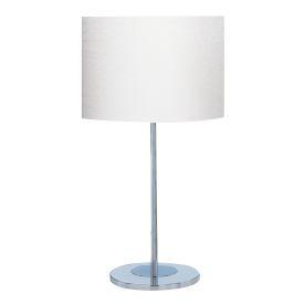 Drum Table Lamp Chrome Round Base Ivory Shade