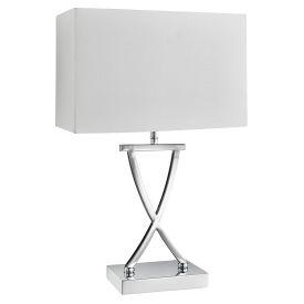 Club Table Lamp X Base, Chrome, White Rectangle Shade