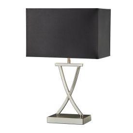 Club Table Lamp X Base, Satin Silver, Black  Rectangle Shade
