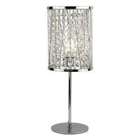 Elise 1lt Table Lamp, Chrome , Crystal Drops