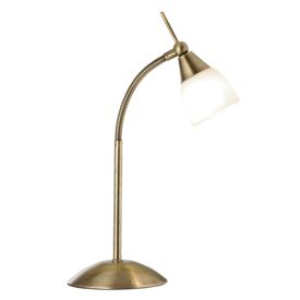 Touch Lamp Antique Brass Table Lamp - White Glass