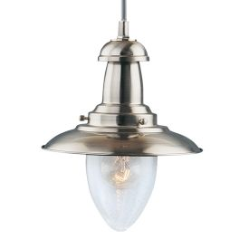 Fisherman Satin Silver Ceiling Lights With Seeded Glass (pack Of 6)