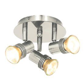 Decco Satin Silver Circular 3 Light Spotlight (pack Of 6)