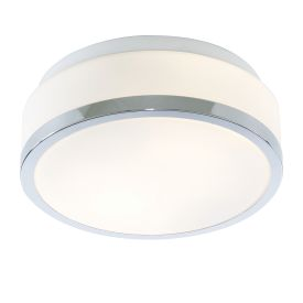 Ip44 Chrome 2 Light Flush Fittings With Opal Glass Shade (pack Of 10)
