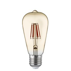 Pack X 5 - Dimmable Led Filament Squirrel Lamp, Amber Glass, E27 6w, 600lm