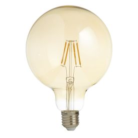 Pack X 5 - Led Filament Globe Lamp (125mm) Amber Glass, E27 6w, 600lm
