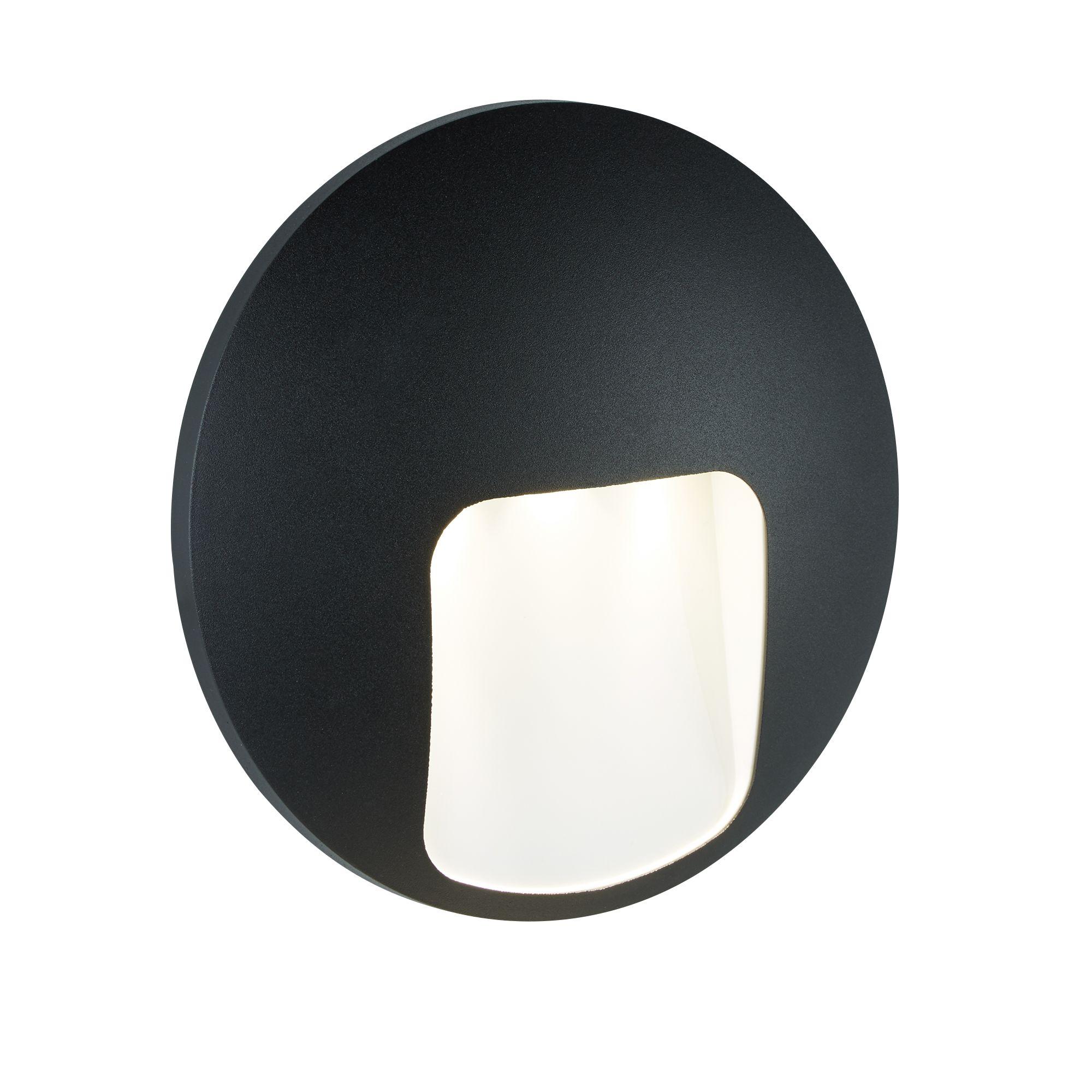Die Cast Aluminium Outdoor 1 Light Disc Led Wall Bracket, Black
