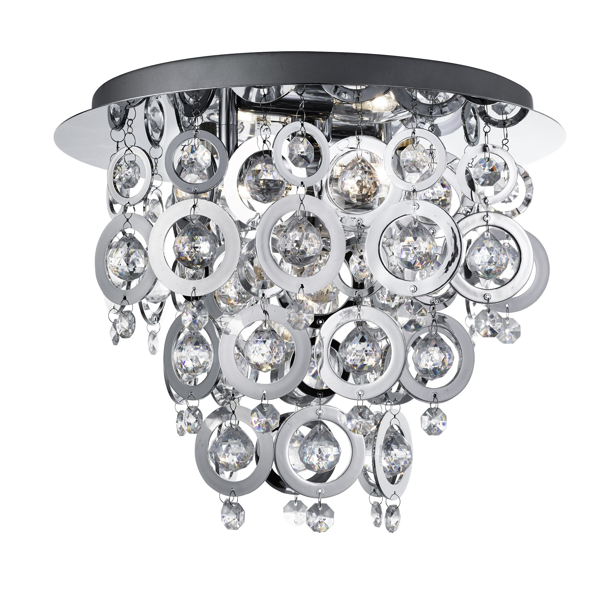 Nova Chrome 3 Light Fitting With Chrome Rings & Clear Acrylic Inserts