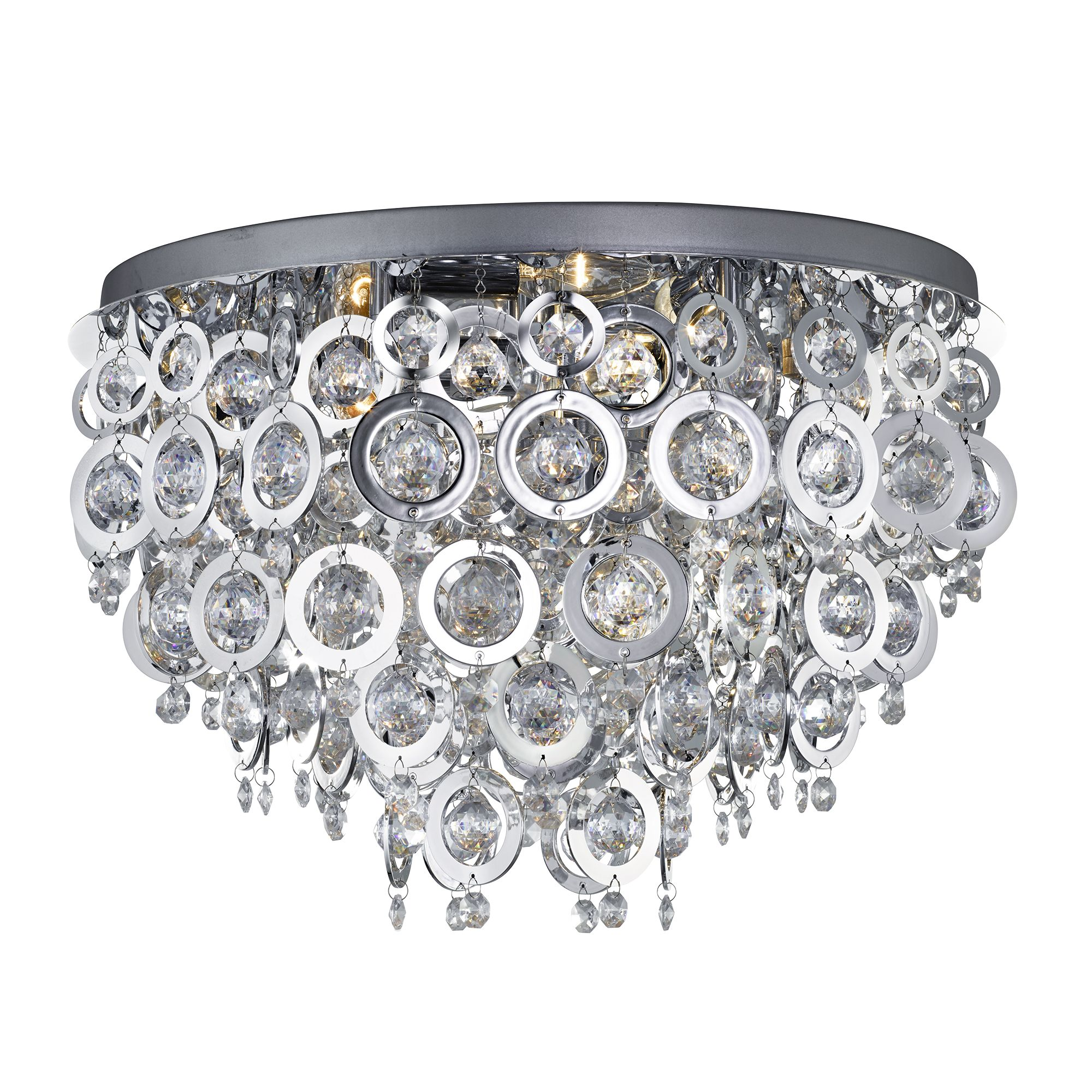 Nova Chrome 5 Light Fitting With Chrome Rings & Clear Acrylic Inserts