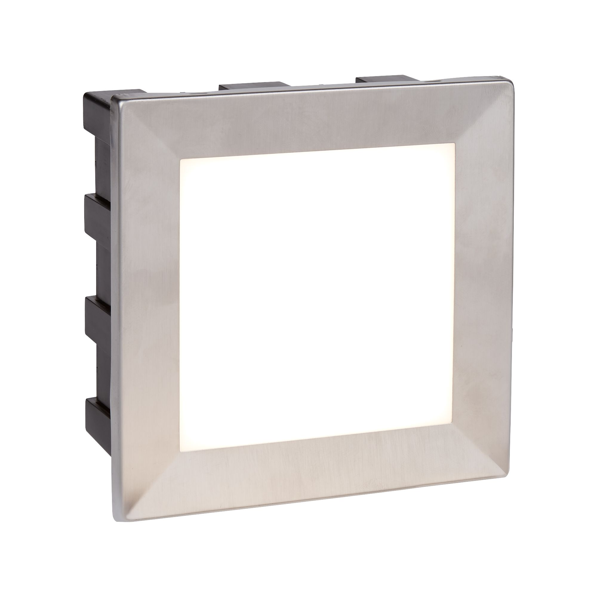 Stainless Steel Wall Led Outdoor Recessed Square, Opal White Polycarbonate Diffu