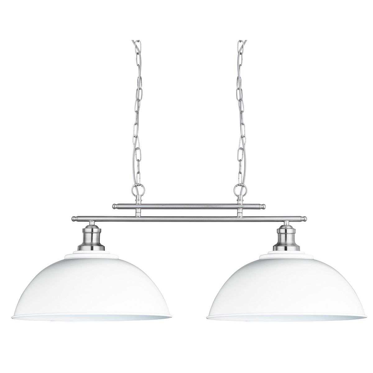 Fusion Satin Silver 2 Light Ceiling Bar Light With White Shades
