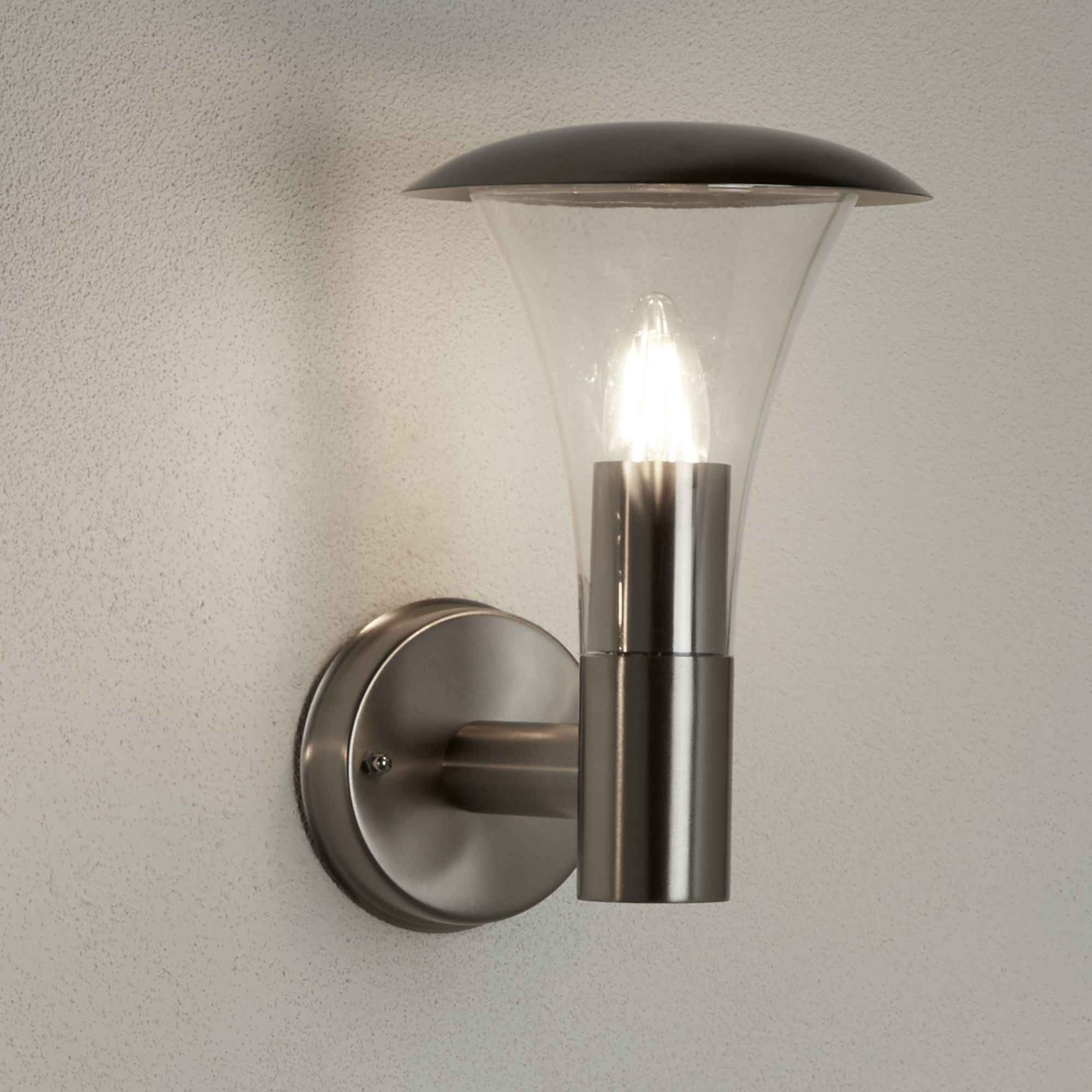 Strand Ip44 Stainless Steel Outdoor Wall Light With Clear Polycarbonate Diffuser