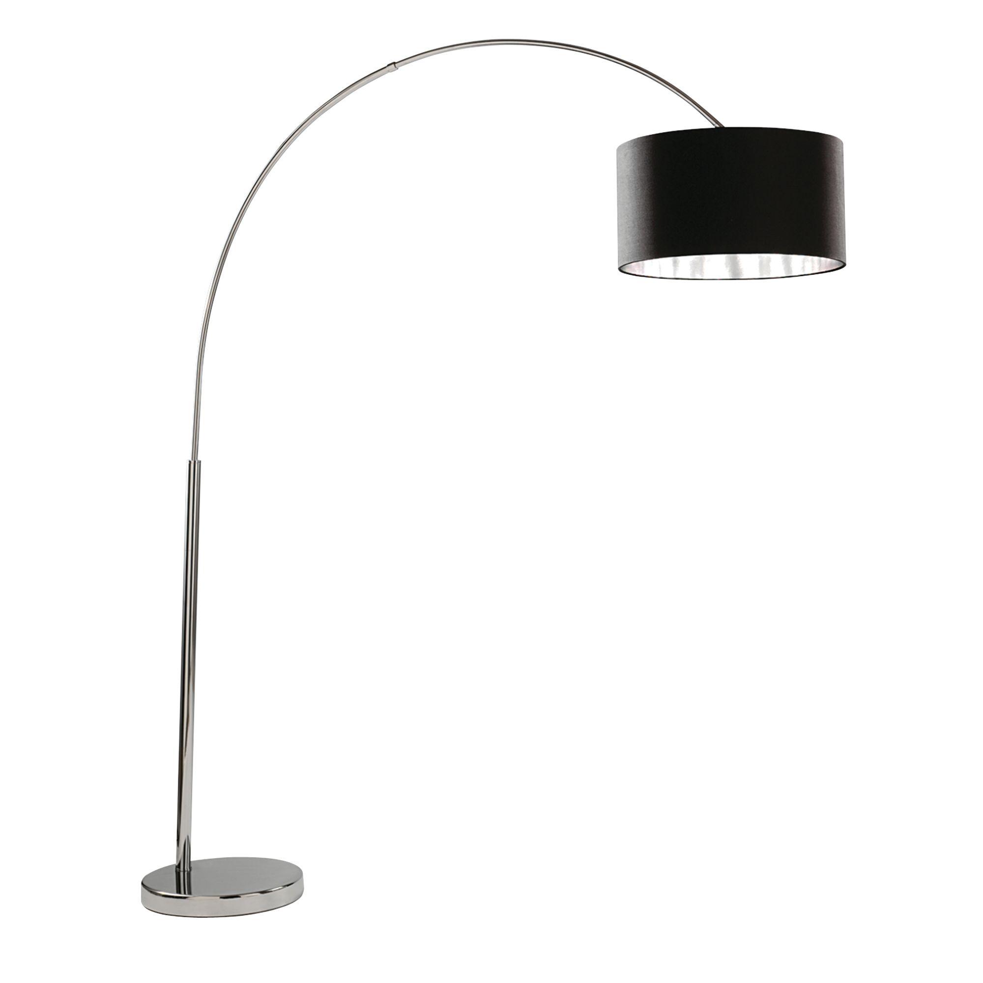 Arcs Chrome Floor Lamp With Black Fabric Shade & Silver Lining