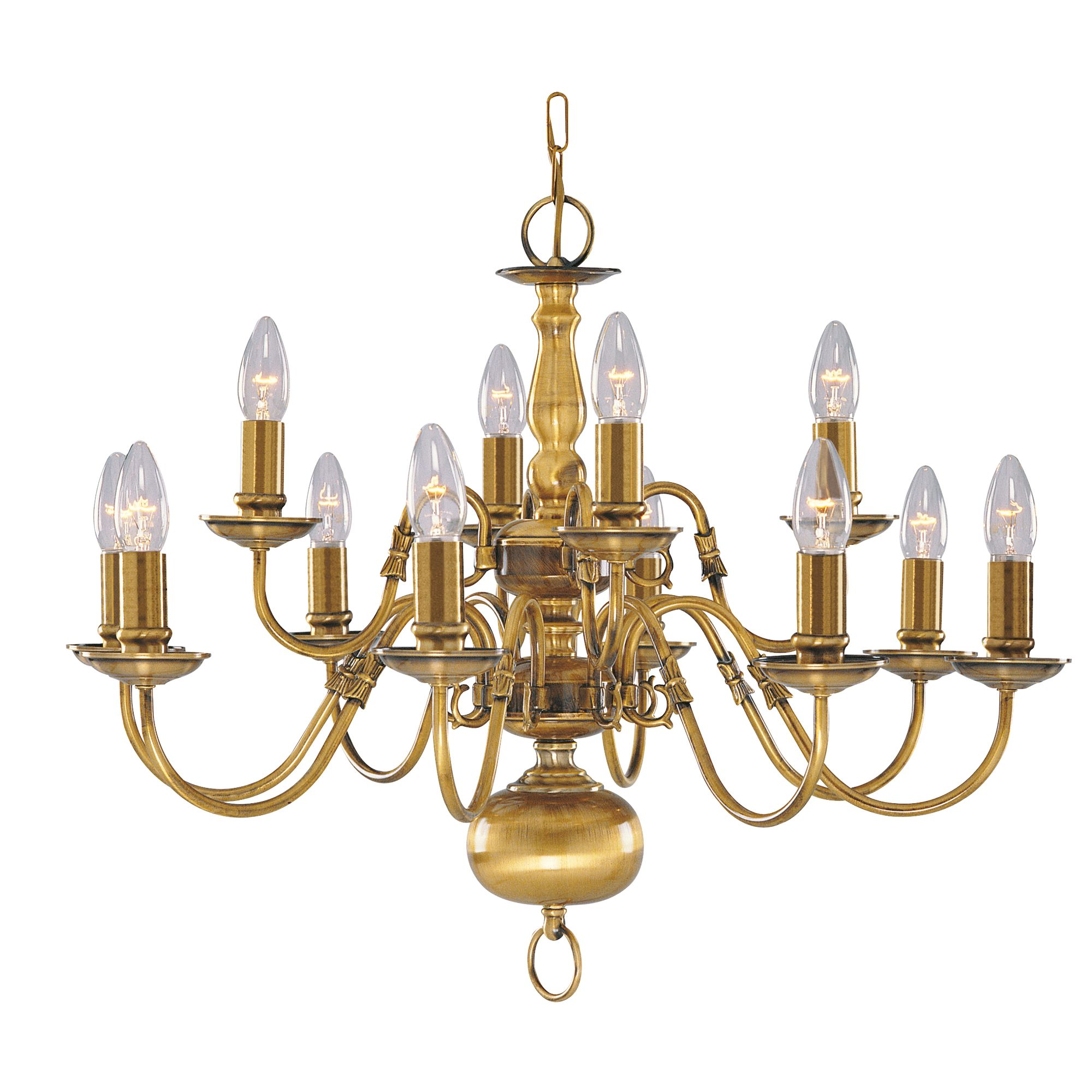 Flemish Solid Antique Brass 12 Light Chandelier With Metal Candle Covers