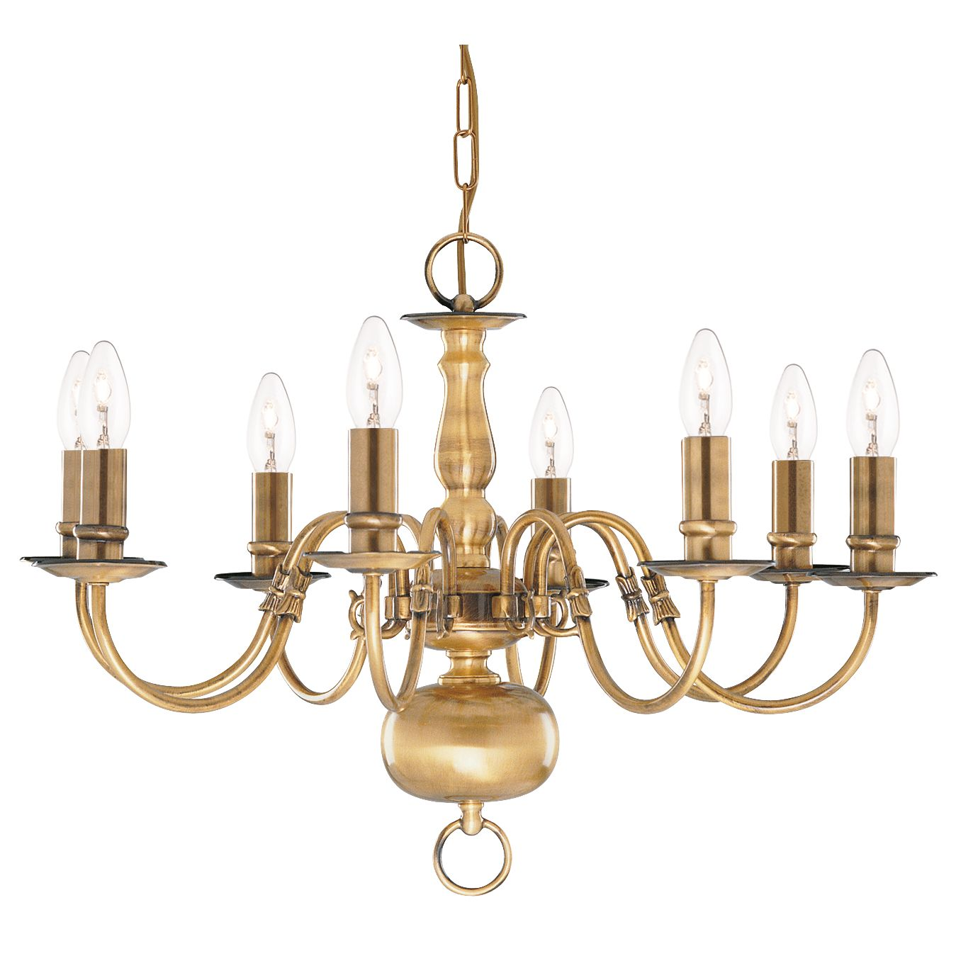 Flemish Solid Antique Brass 8 Light Chandelier With Metal Candle Covers