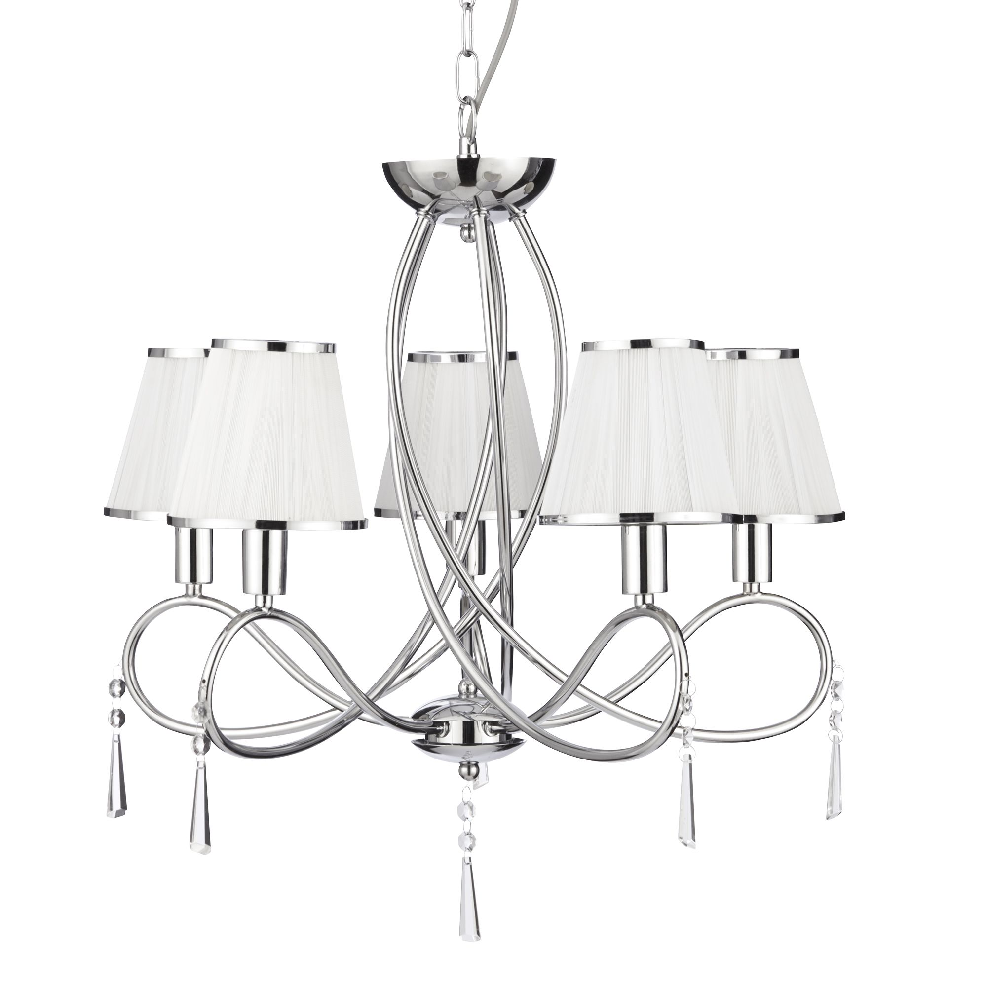 Simplicity Chrome 5 Light Fitting With Glass Drops & White String Shades