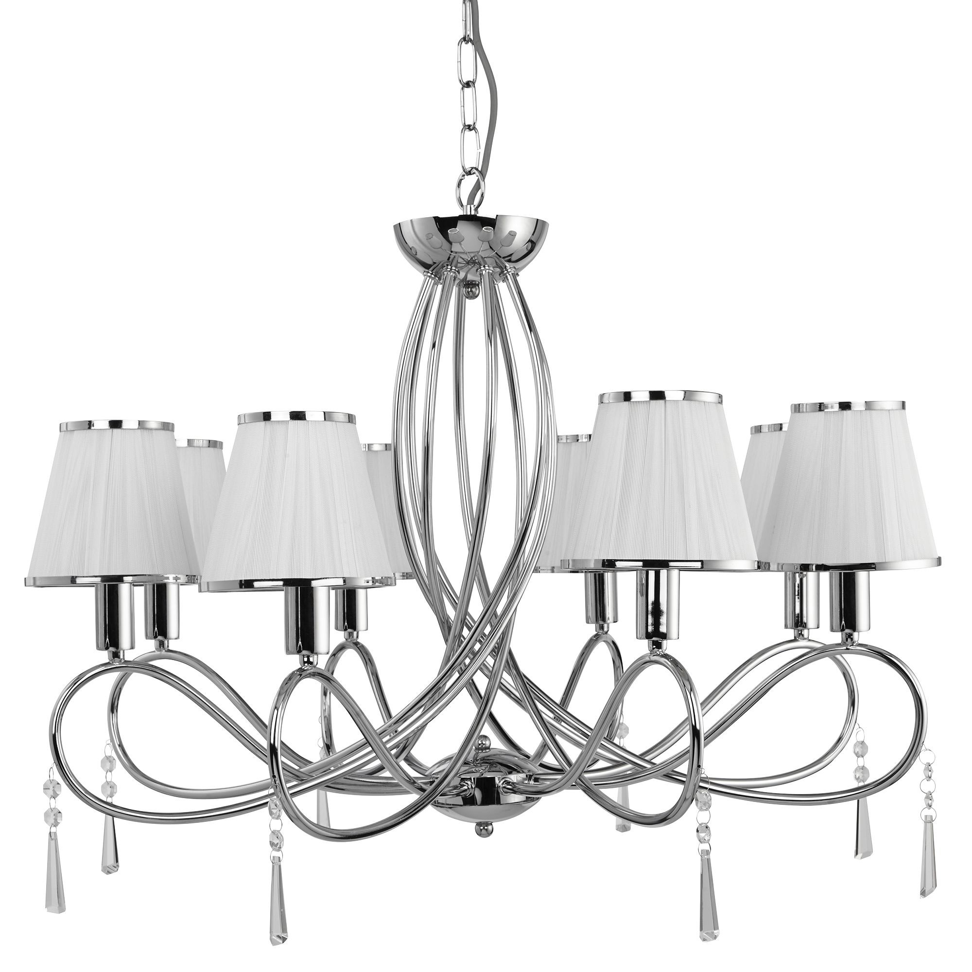 Simplicity Chrome 8 Light Fitting With Glass Drops & White String Shades