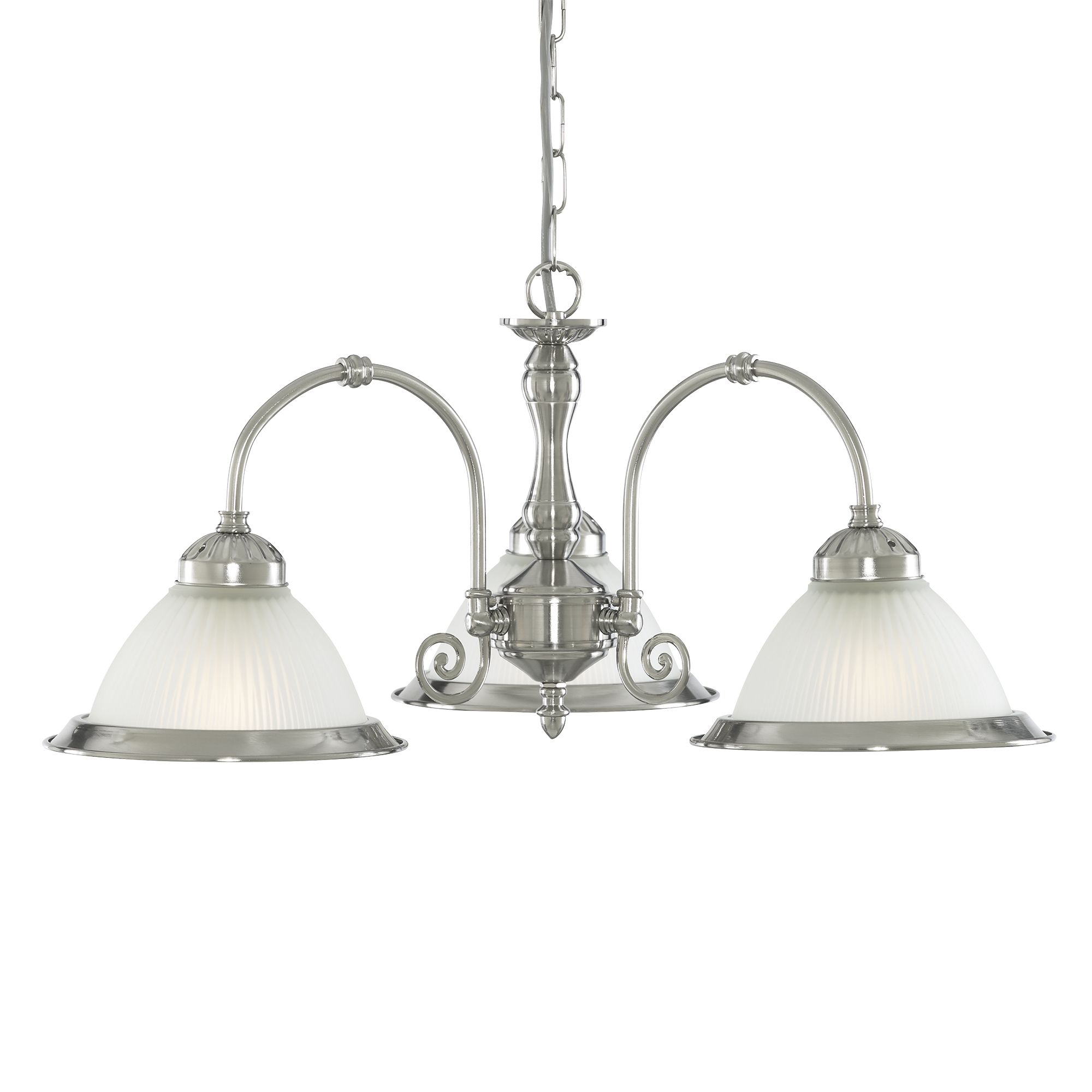 American Diner Satin Silver 3 Light Fitting With Acid Ribbed Glass