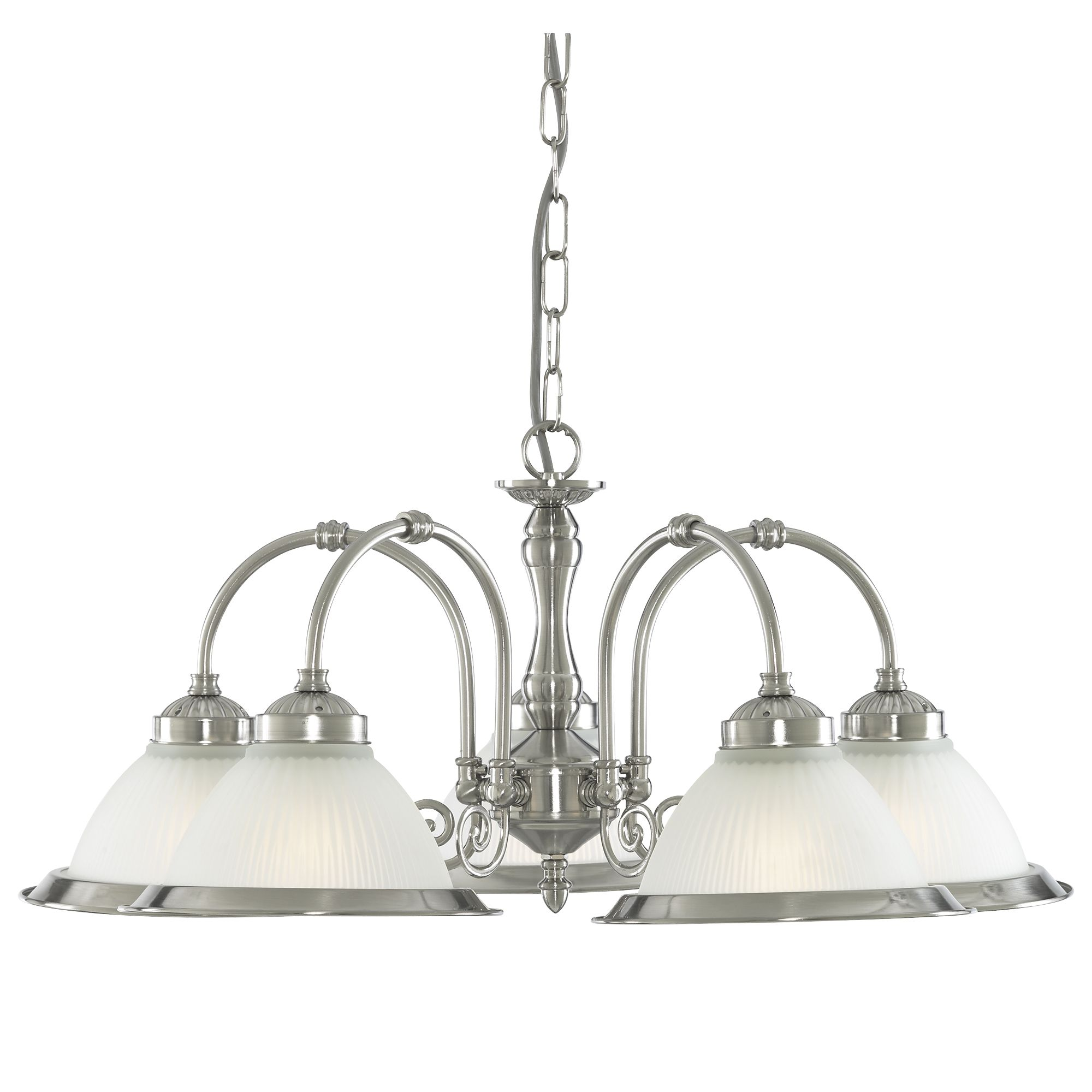 American Diner Satin Silver 5 Light Fitting With Acid Ribbed Glass