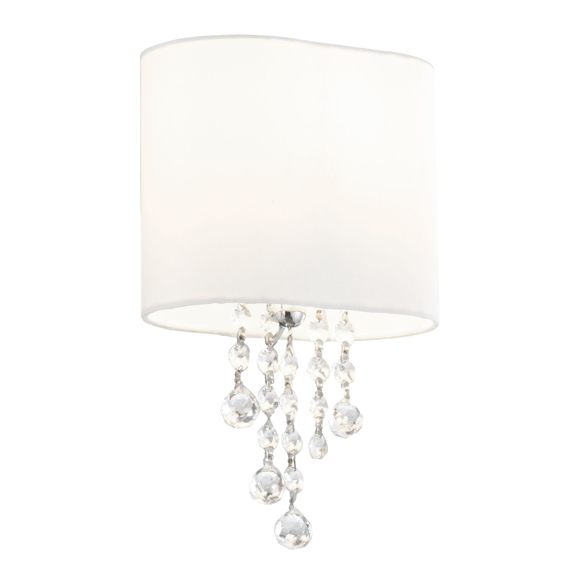 Nina Chrome Wall Light With Crystal Beads & White Fabric Shade