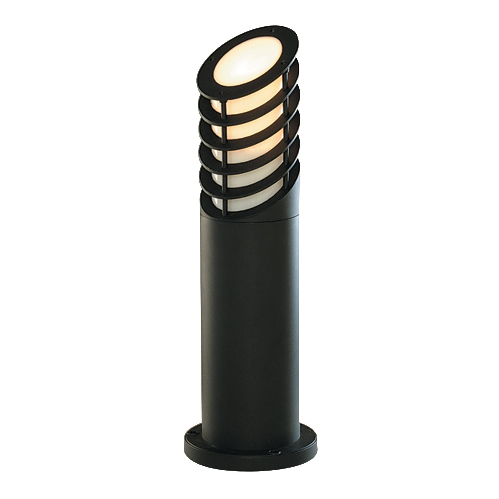 Die Cast Aluminium Ip44 Black Bollard Light With White Polycarbonate Diffuser