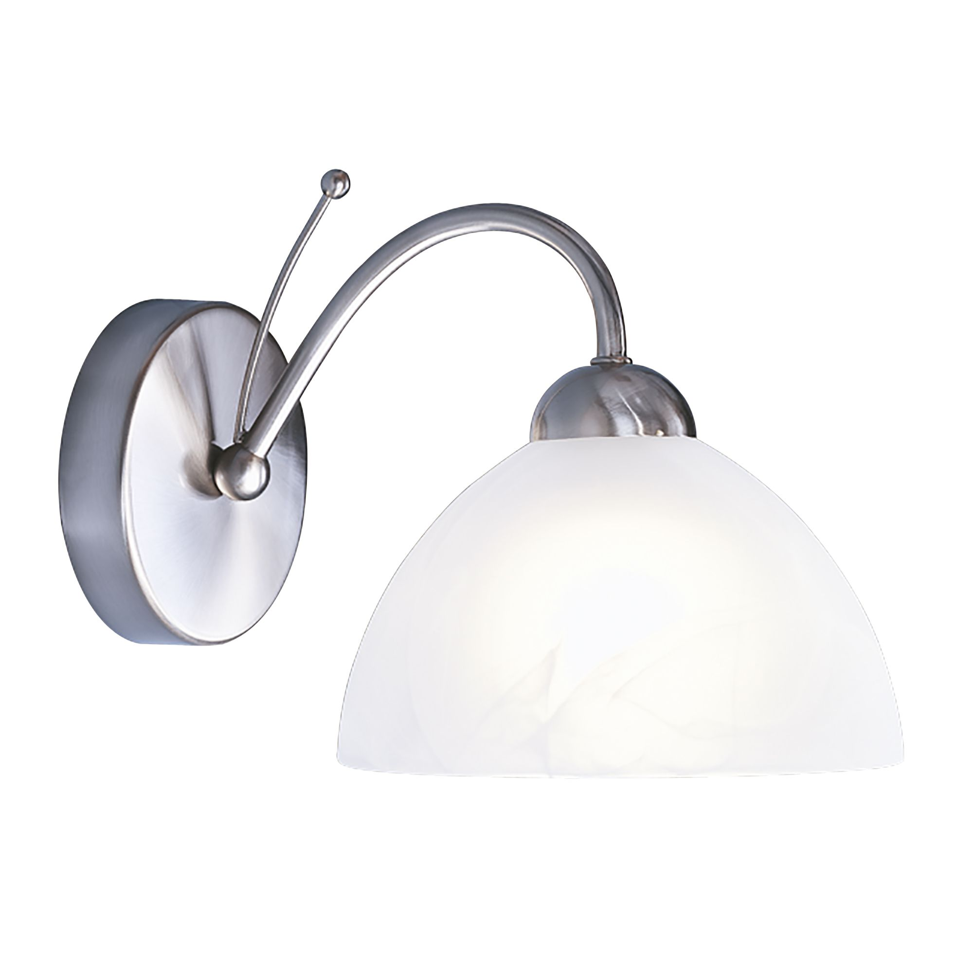 Milanese Satin Silver Wall Light With Alabaster Glass