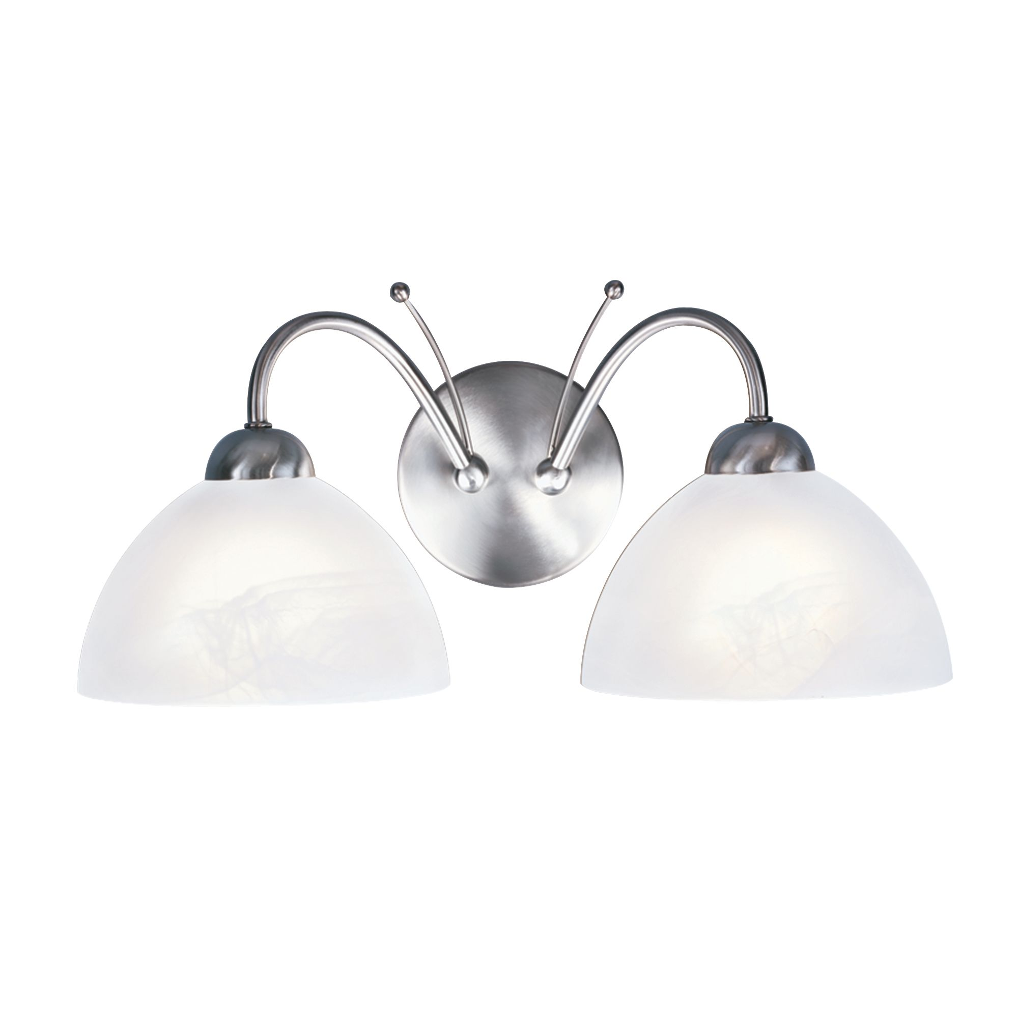 Milanese Satin Silver 2 Light Wall Bracket With Alabaster Glass
