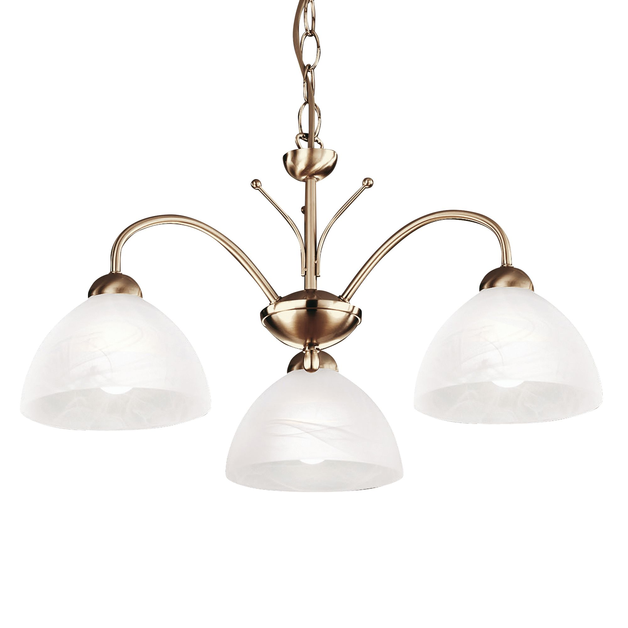 Milanese Antique Brass 3 Light Fitting With Alabaster Glass
