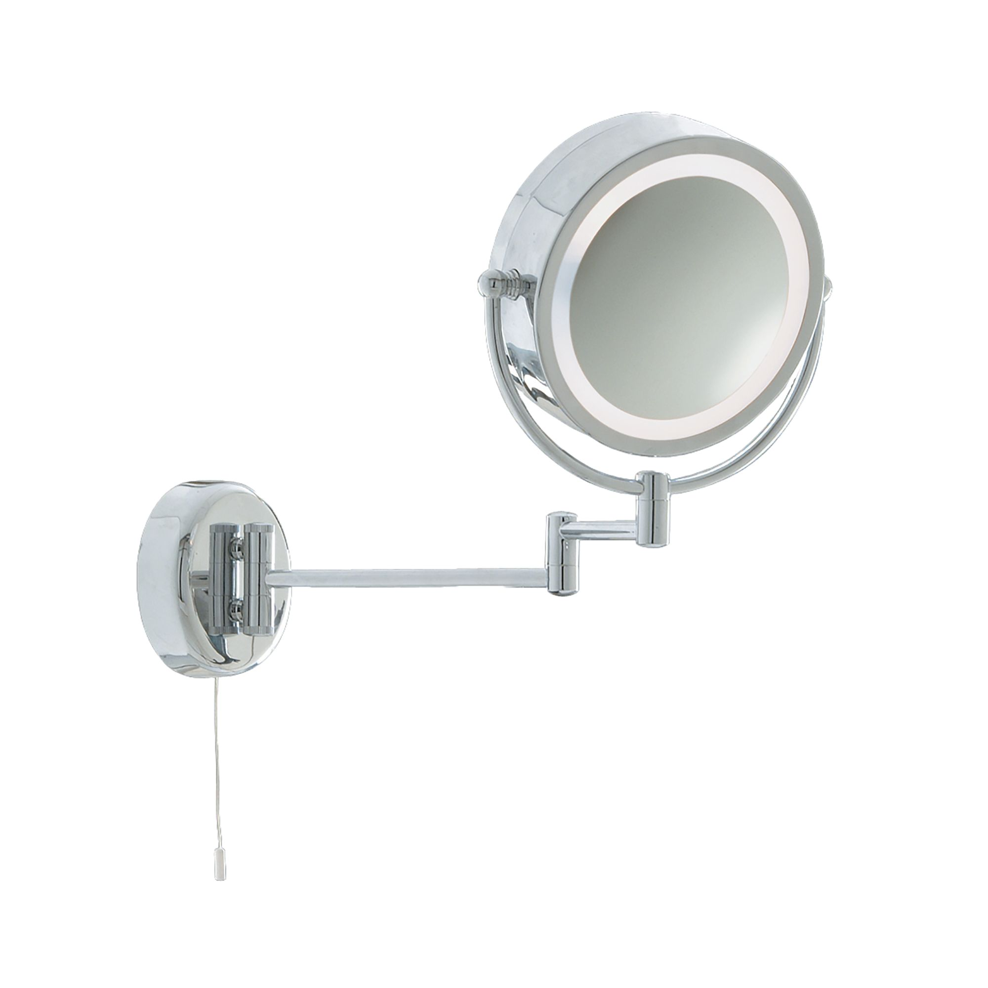 Ip44 Illuminated Chrome Bathroom Mirror With Adjustable Arm