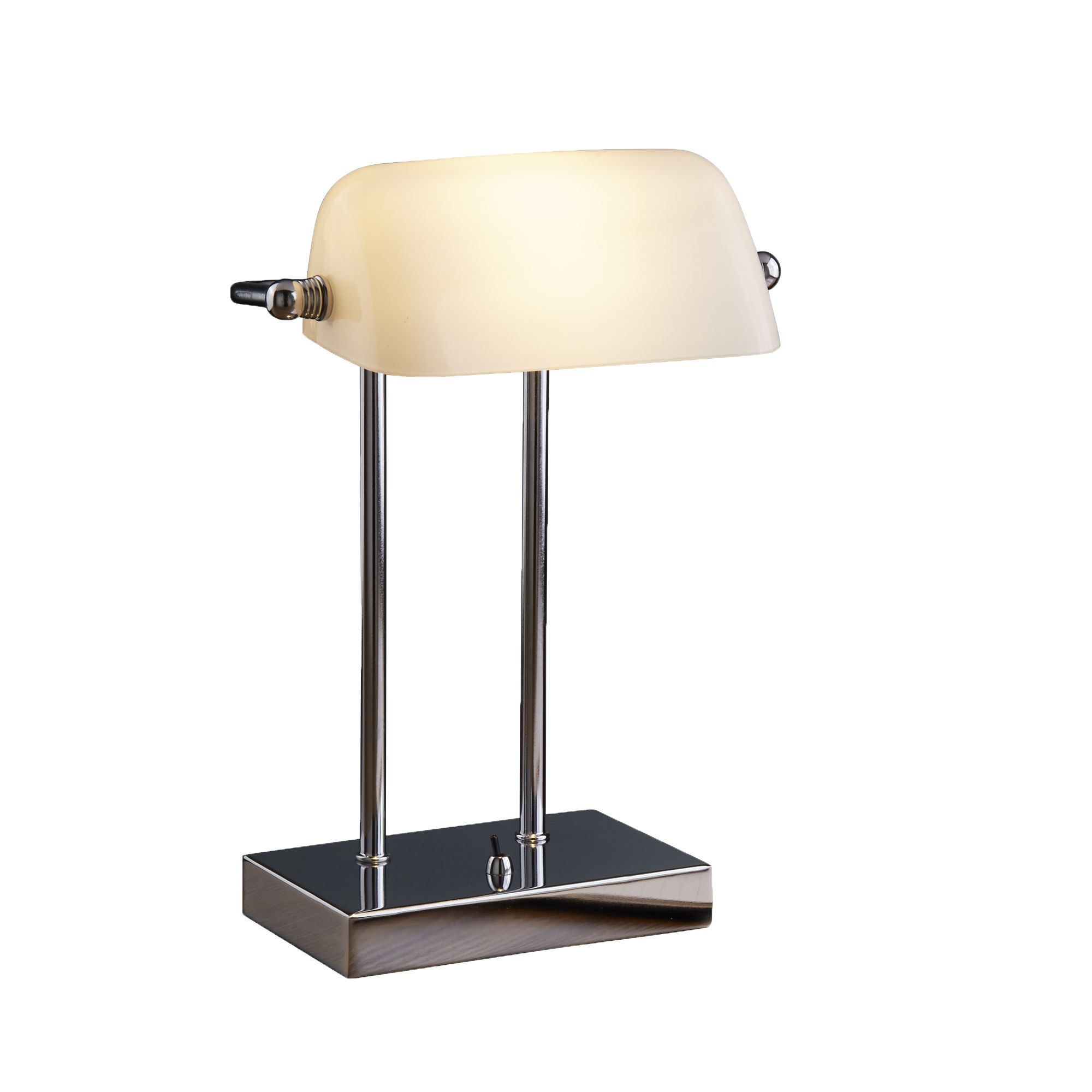 Bankers Style Chrome Table Lamp With White Glass Shade