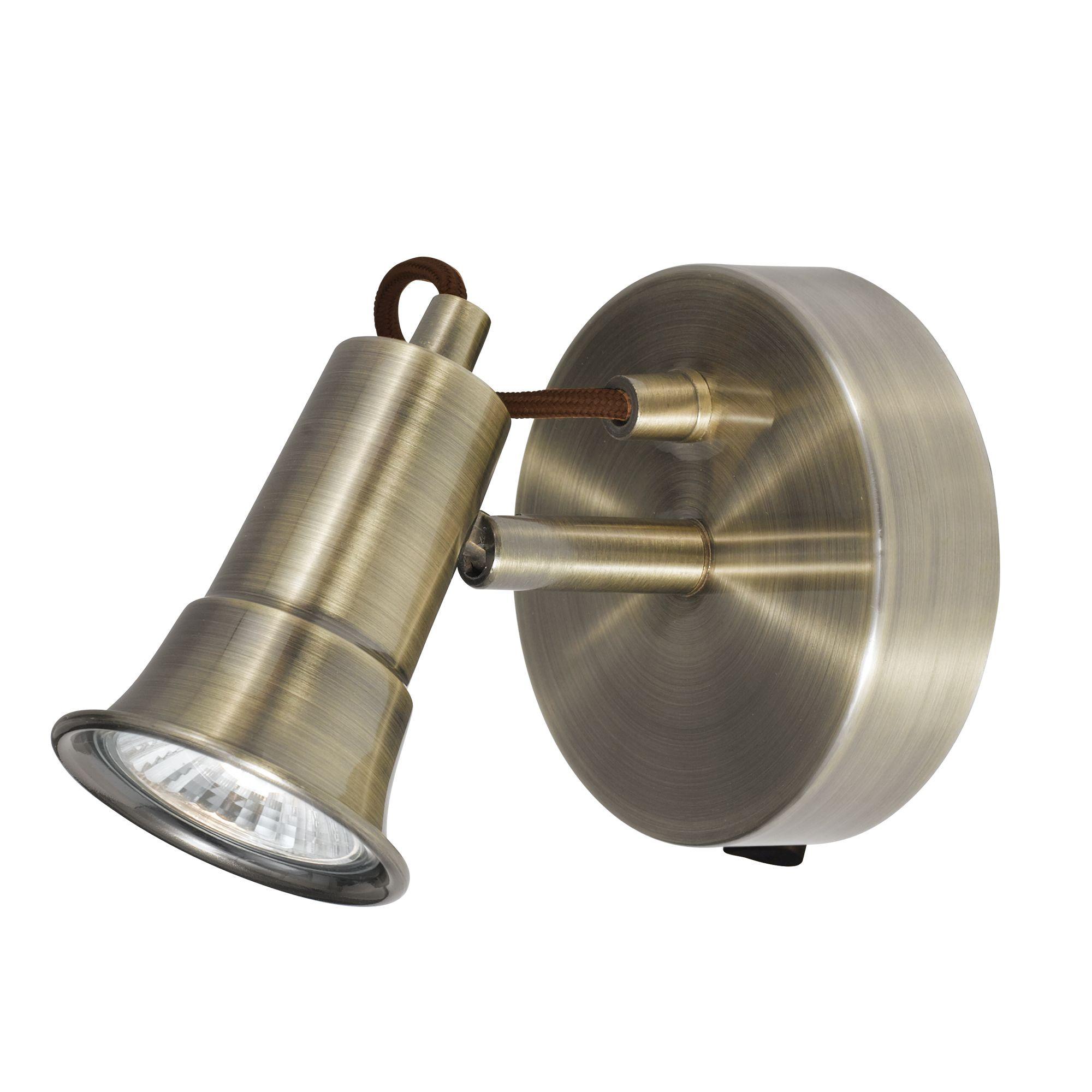 Eros Antique Brass 1 Light Wall Spotlight
