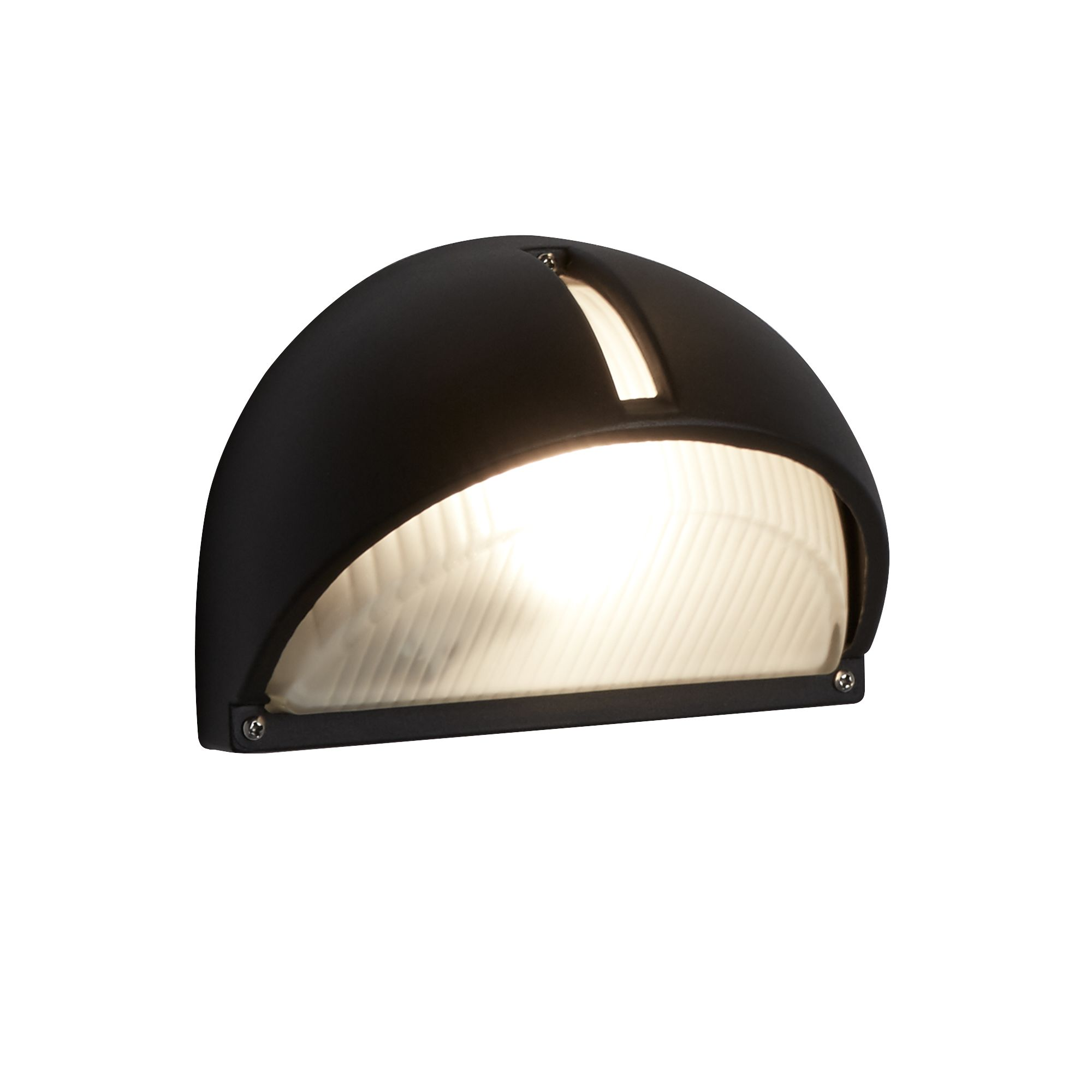 Black Die Cast Aluminium Ip44 Half Moon Outdoor Light With Ridged Frosted Glass