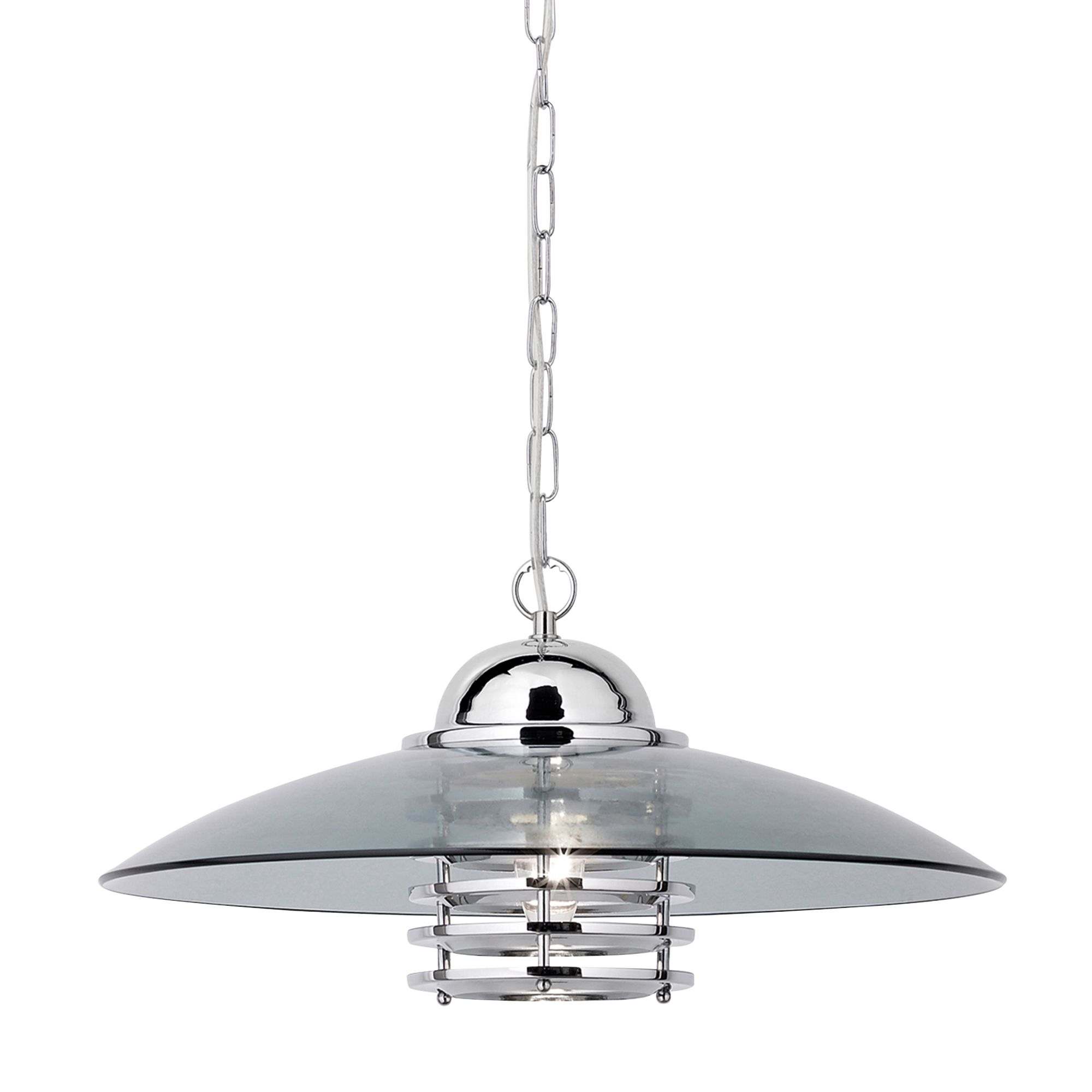 Chrome Pendant Light With Smokey Glass Shade