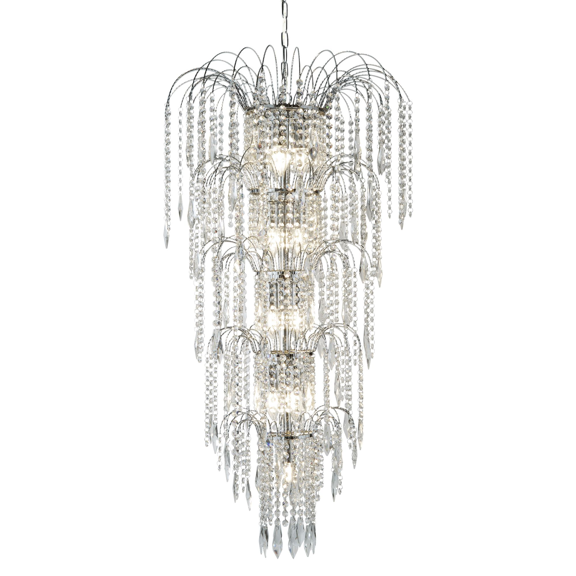 Waterfall 13 Light Chrome Chandelier With Crystal Buttons & Drops