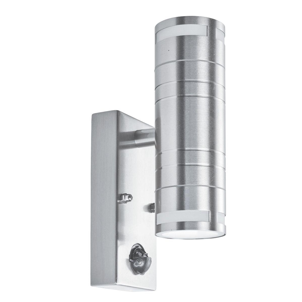Ip44 Outdoor 2 Light Wall Light, Stainless Steel, Motion Sensor