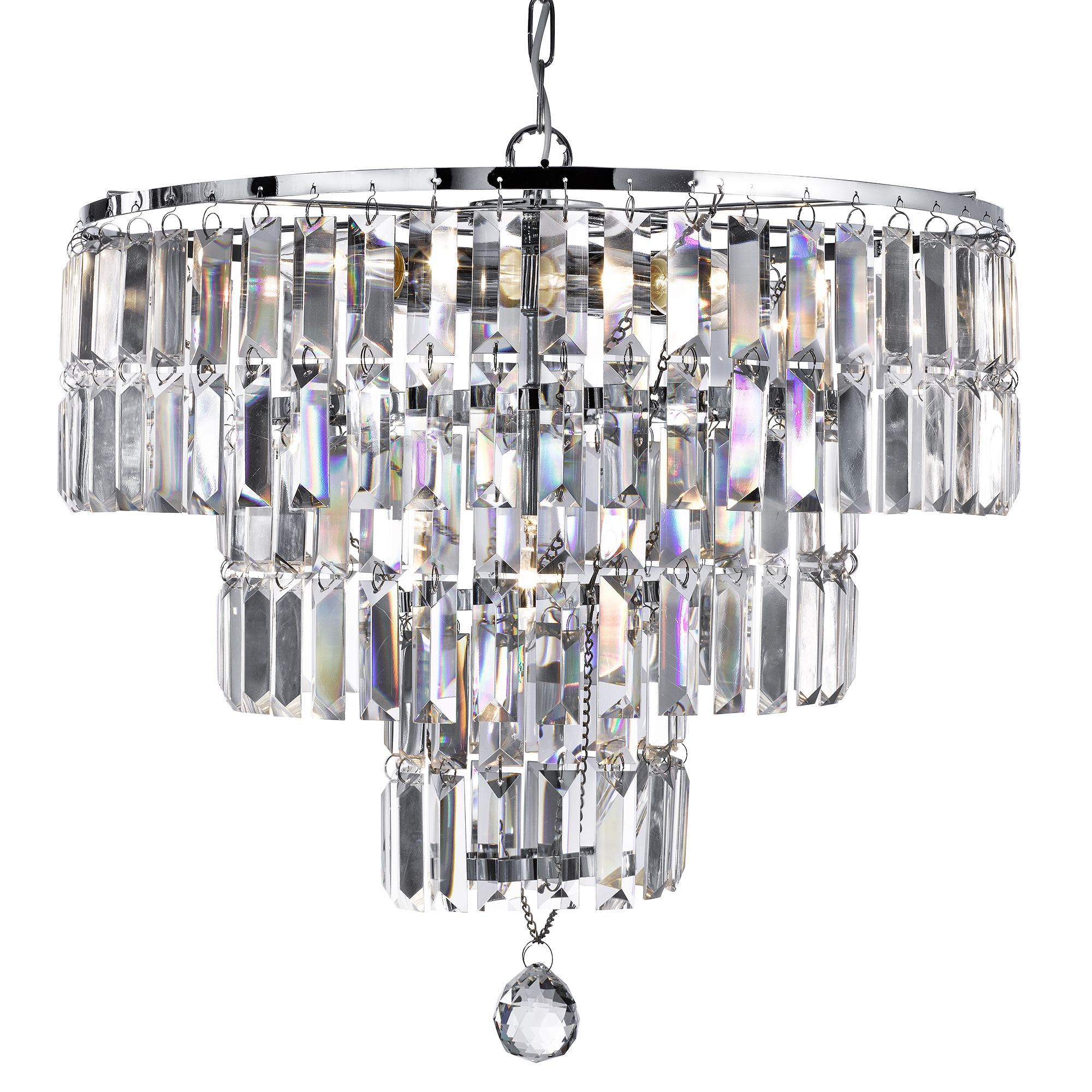 Empire Chrome 5 Light Chandelier With Bevelled Crystal Coffin Drops