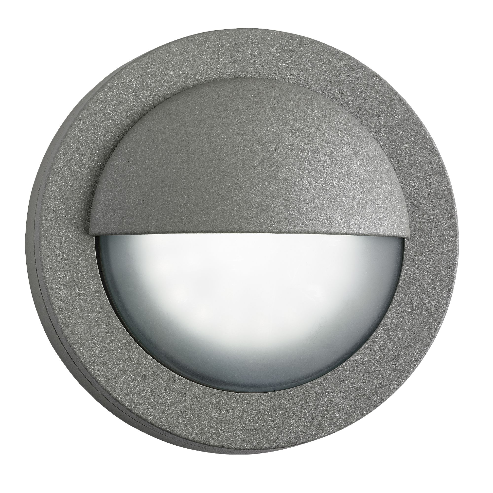 Ip44 Die Cast Aluminium Grey 18 Led Outdoor Wall Light With Acid Glass