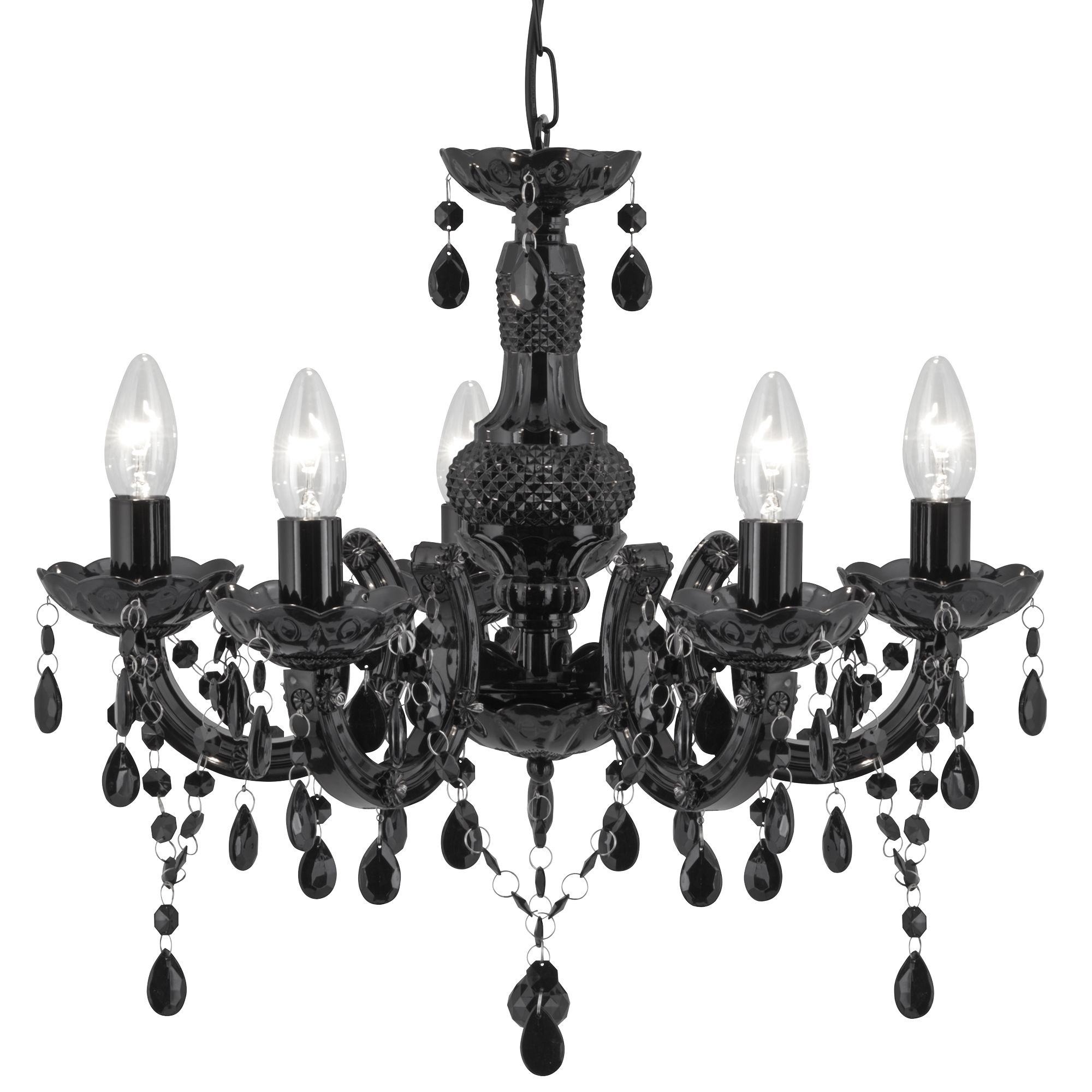 Marie Therese Black 5 Light Chandelier With Acrylic Glass Drops
