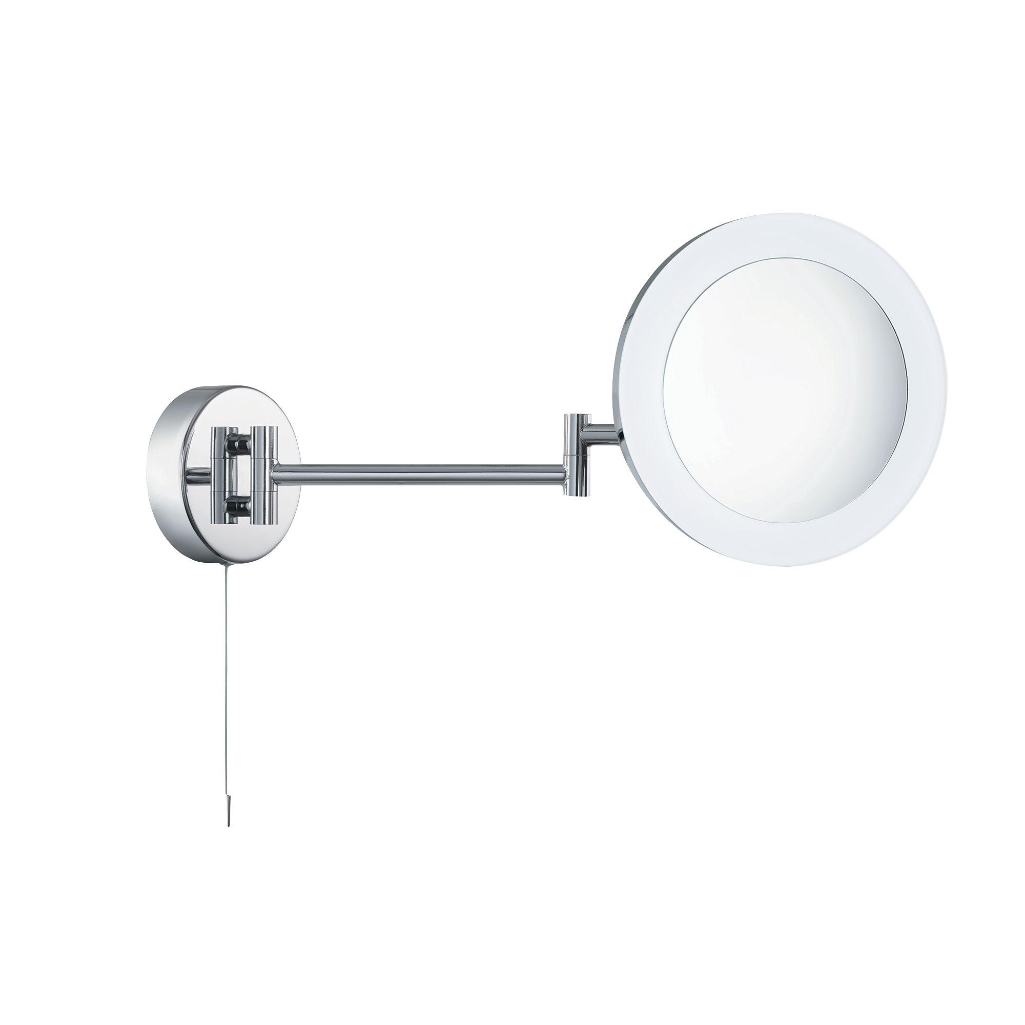 Ip44 Chrome Illuminated Adjustable Bathroom Mirror