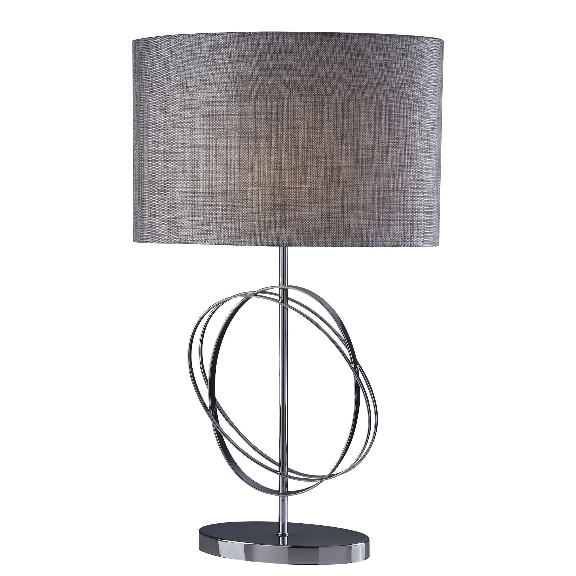 Chrome Rings Table Lamp With Silver Linen Oval  Shade