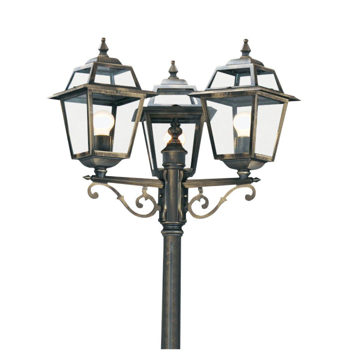 New Orleans Aluminium Ip44 Black Gold 3 Light Post Lamp Clear Glass