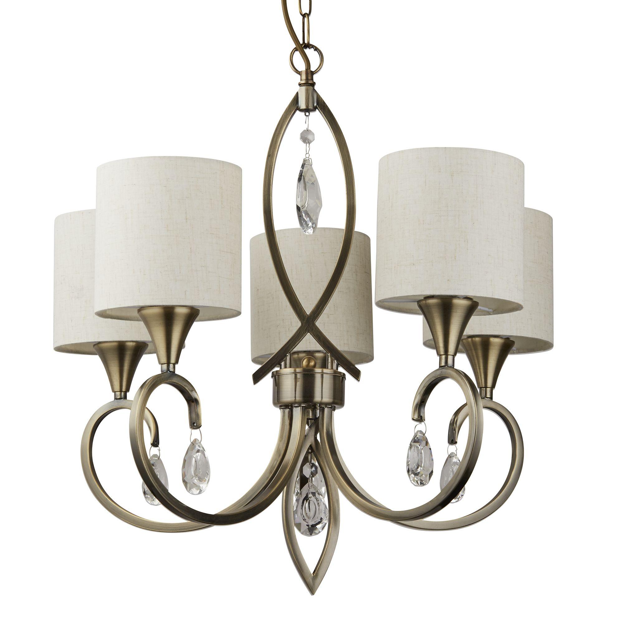 Awe Inspiring Alberto 5 Light Pendant Antique Brass Clear Crystal Drops Interior Design Ideas Tzicisoteloinfo