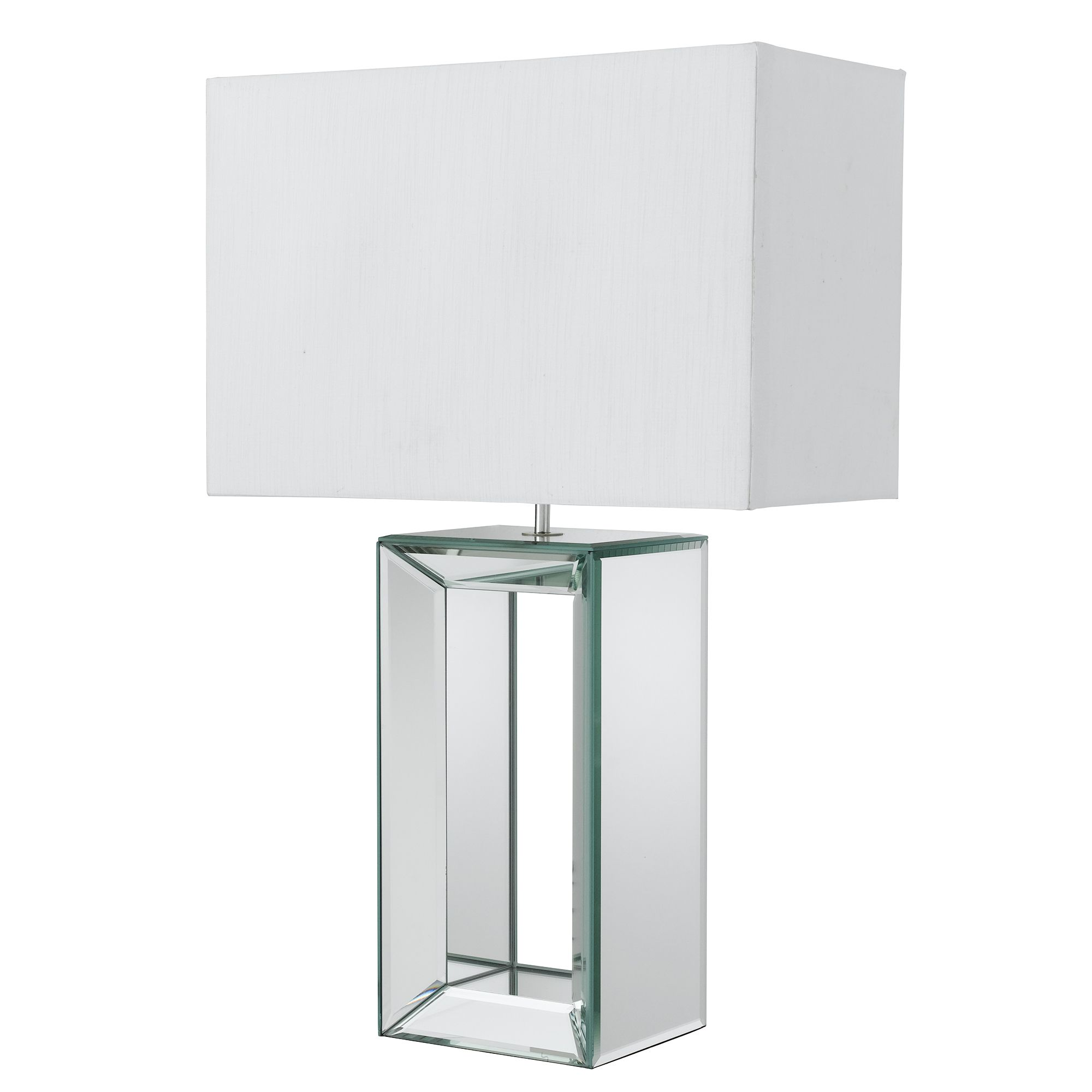 Mirror Reflection Table Lamp With White Oblong Faux Silk Shade