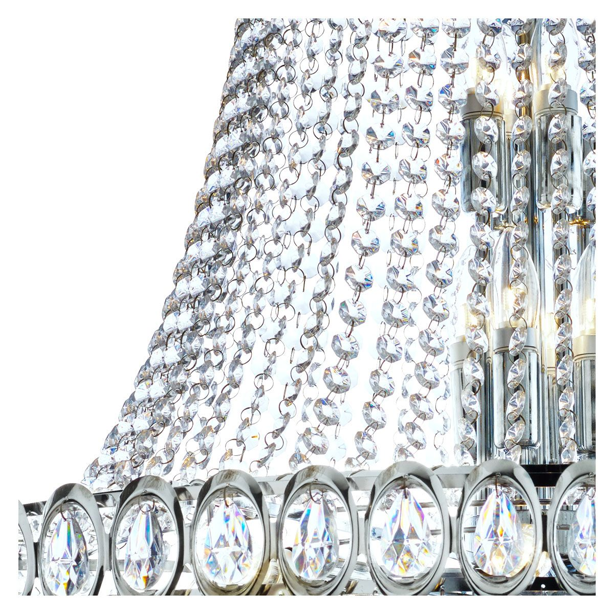 LOUIS PHILIPPE CHROME 28 LIGHT CHANDELIER WITH CRYSTAL BEADS