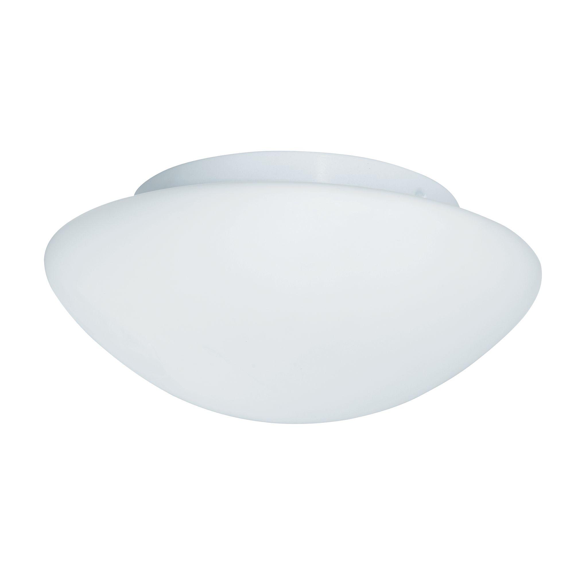 Ip44 White Flush Fitting, Opal Glass