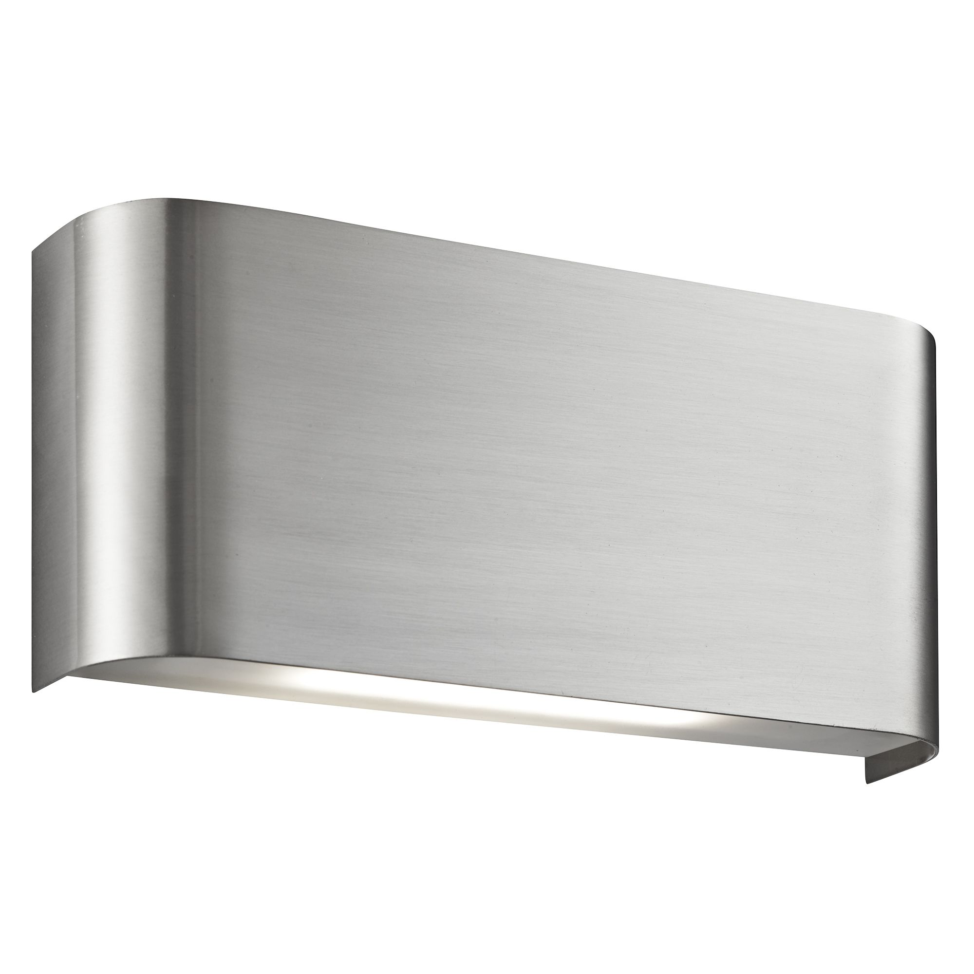 Match Box Satin Silver Oblong Curved Wall Light With Up & Down 2 Light Led