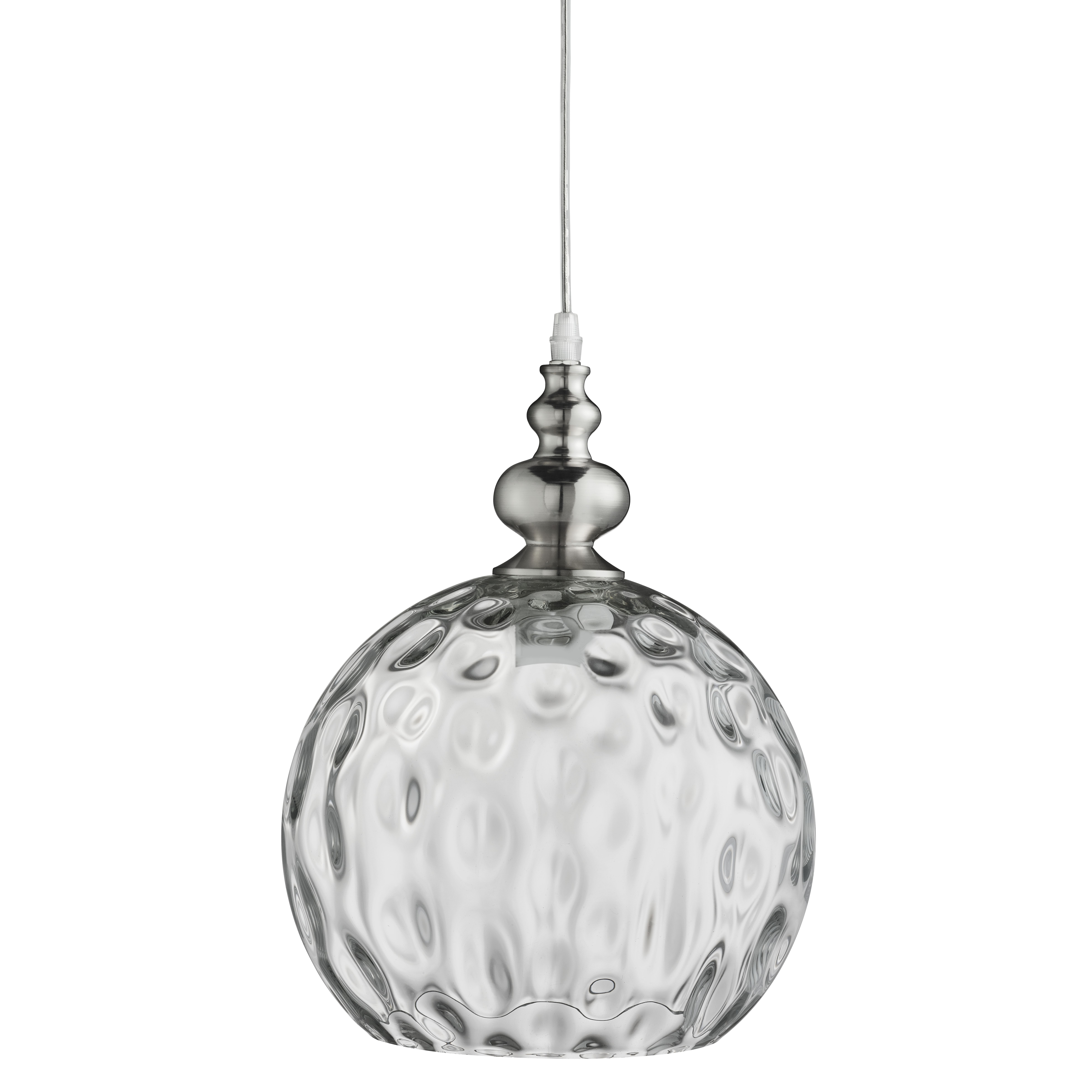 Indiana Satin Silver Globe Pendant Light With Dimpled Glass Shade