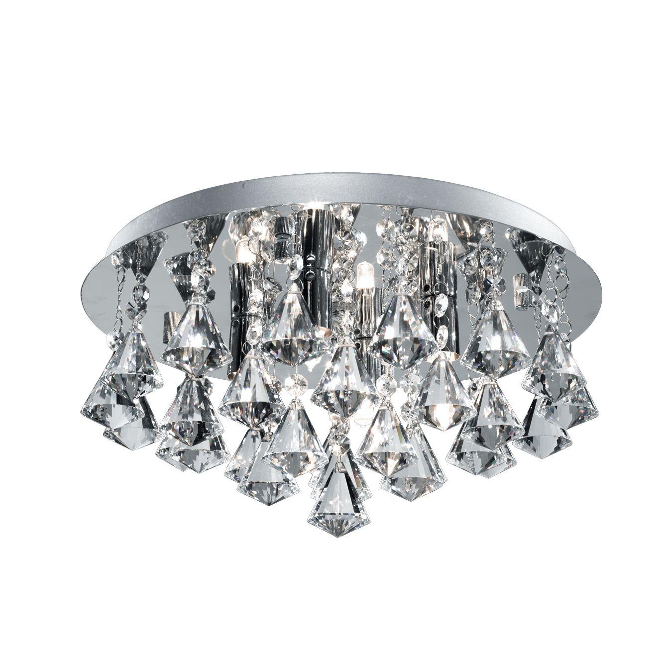 Hanna Ip44 Bathroom 4 Light Crystal Ceiling Flush Clear Pyramid Crystal Drops