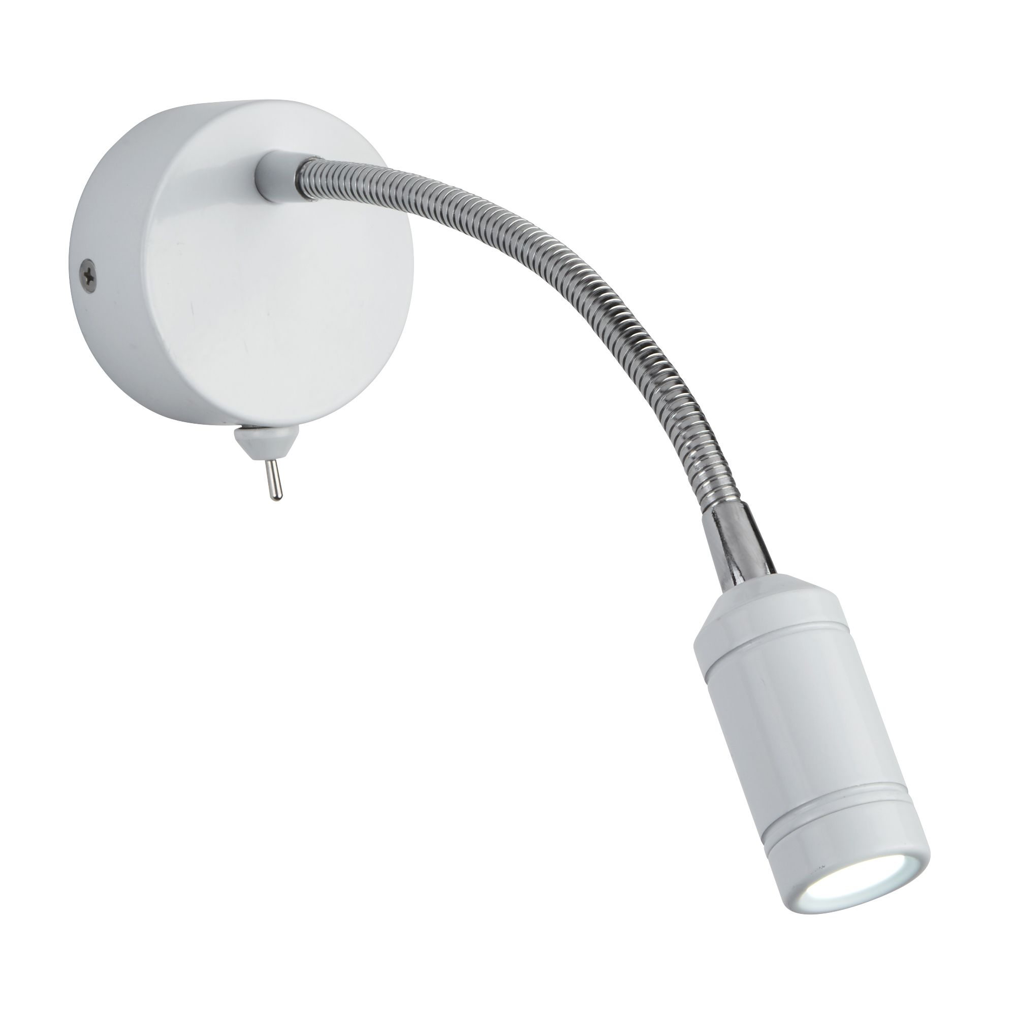 Led Wall Light - White Head & Body - Chrome Flexi Arm